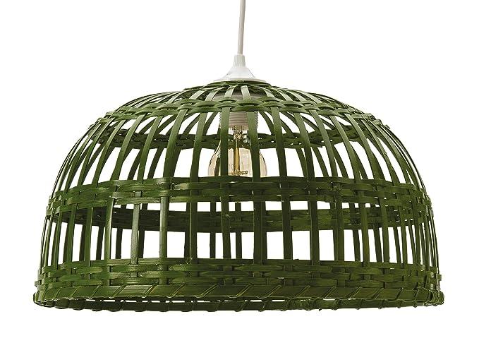 Lussiol 250490 - Lámpara de techo (bambú, 60 W, verde, diámetro 60 x altura 33 cm)