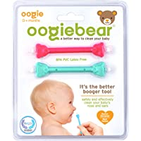 oogiebear - The Safe Baby Nasal Nooger and Ear Cleaner - and Registry Essential Snot Removal Tool - Two Pack - Raspberry & Seafoam …