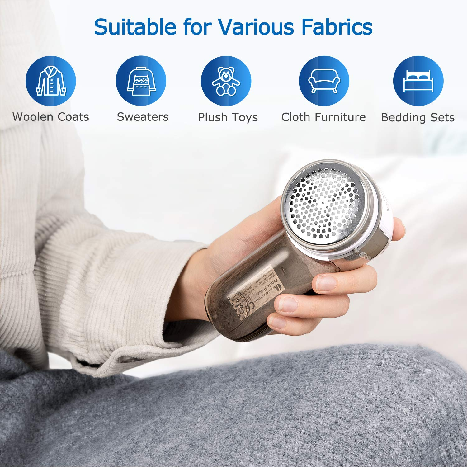 BEAUTURAL Fabric Shaver and Lint Remover Sweater Defuzzer with 2Speeds 2 Replaceable Stainless Steel