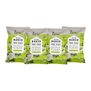 EPIC Chili Lime Baked Pork Rinds, Keto Consumer Friendly, 4 Count Box 2.5oz bags