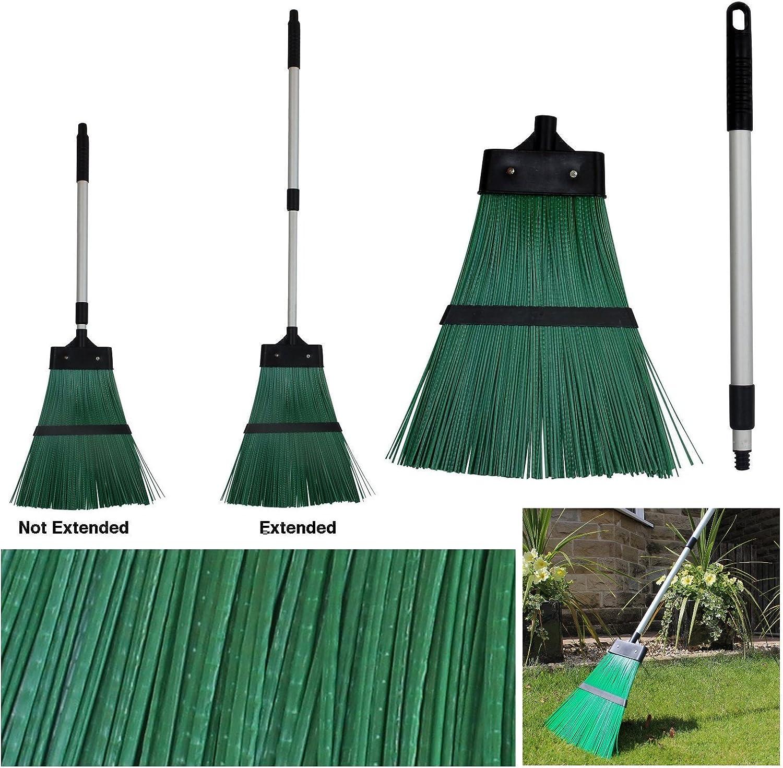 Al aire libre extensible jardín escoba cepillo rastrillo escoba con cerdas mango verde duro Wilsons directa: Amazon ...
