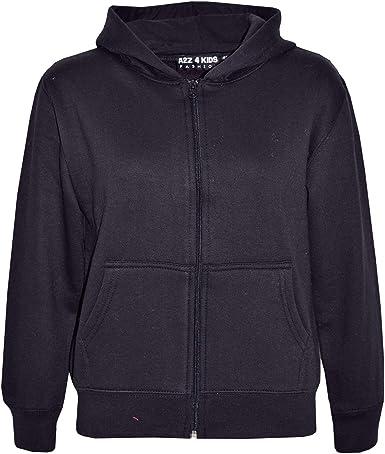 Kids Boys Plain Zip Through Fleece Hoodies Full Length Sleeve Sweatshirt Hoody Top