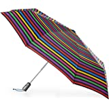 totes Titan Automatic Open Close Windproof & Water-Resistant Foldable Umbrella, Hue Stripe