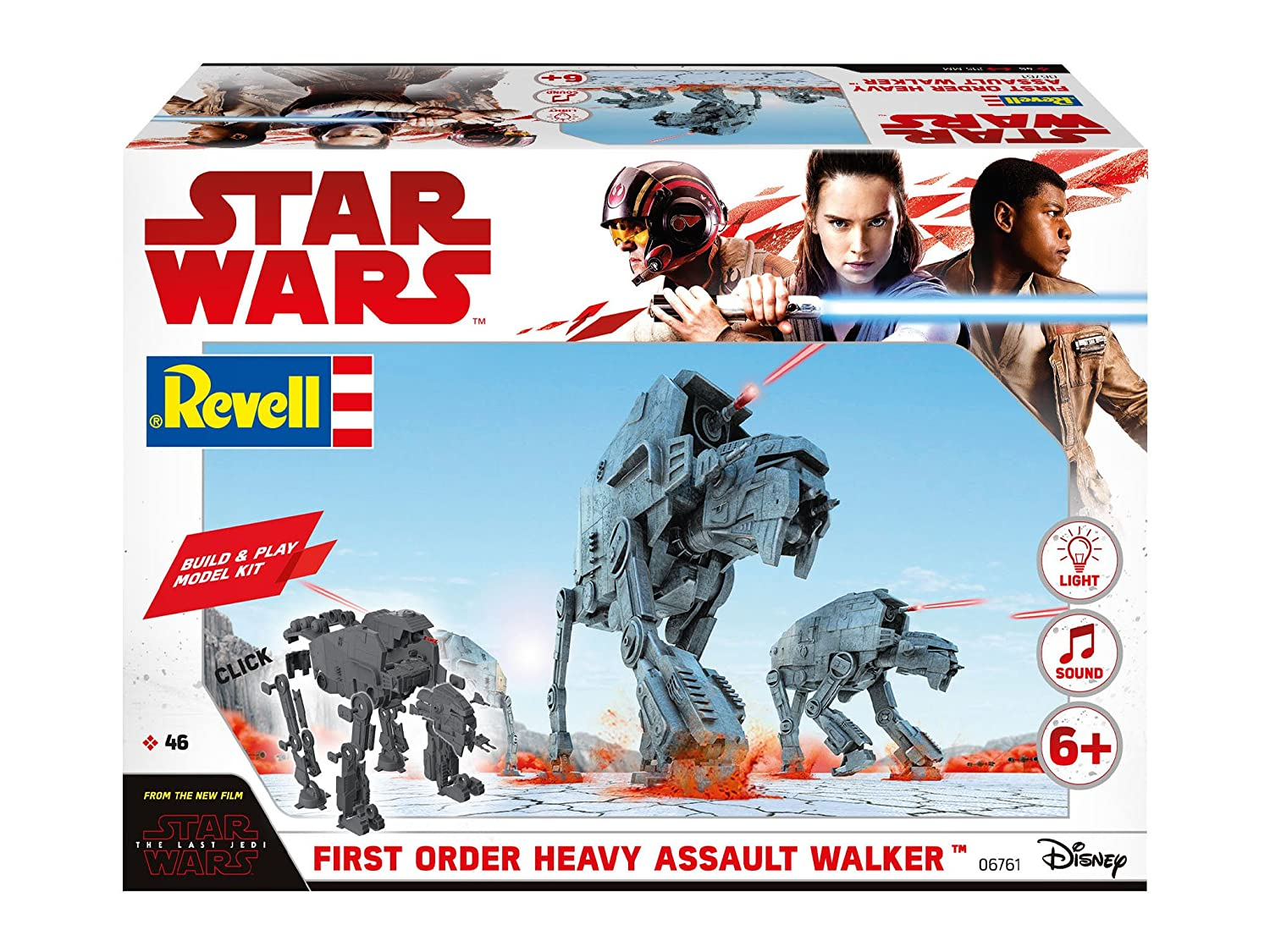 Revell- Star Wars Episodio VIII Build & Play Rojo ala-A Fighter, con Luces y Sonidos (6761) (06761), Color 06761-heavy Assault Walker, with Lights & ...