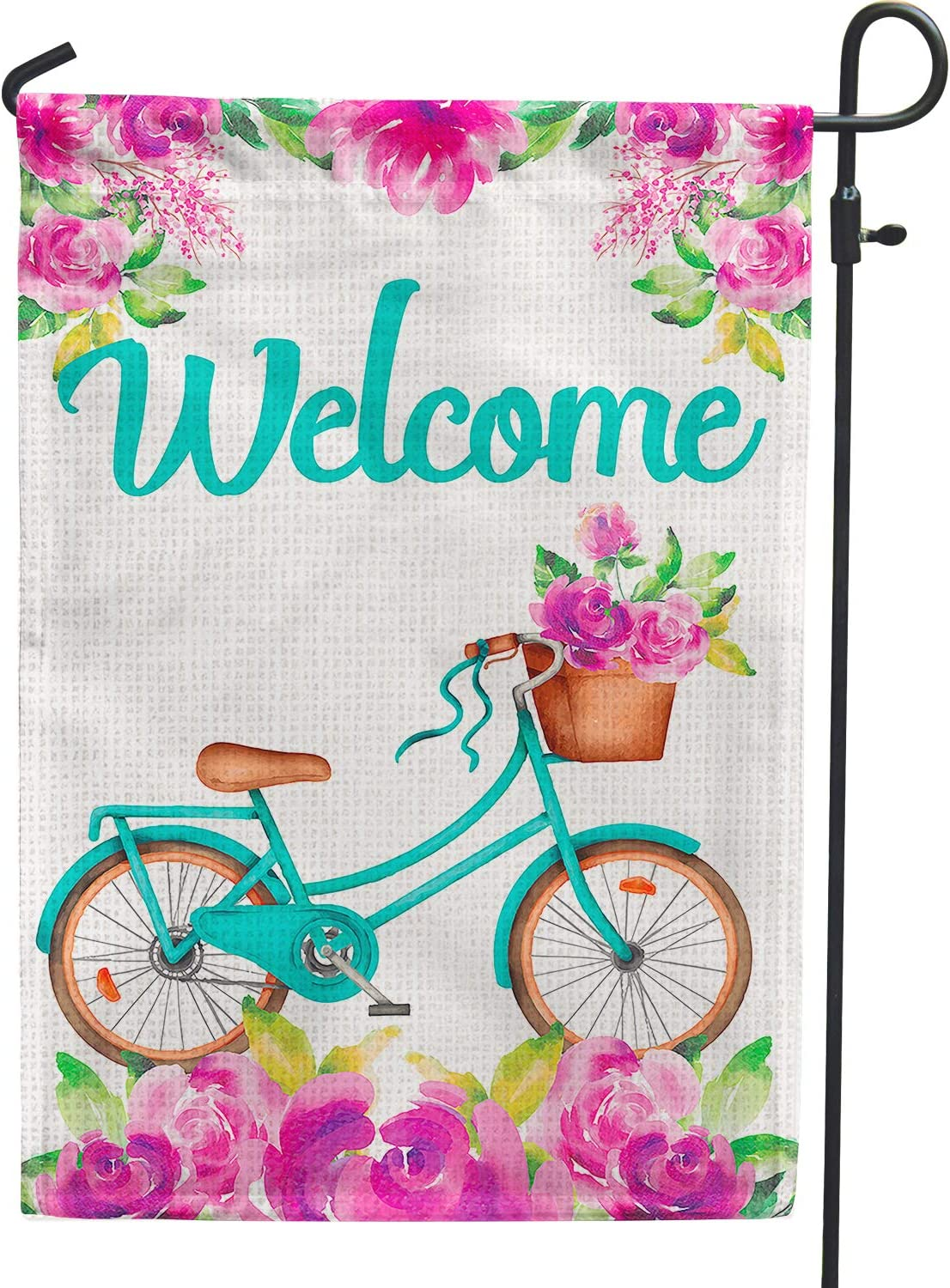 PAMBO Welcome Spring Garden Flags 12x18 Double Sided,Bicycle and Abstract Flower Garden Flags Burlap for Yard Outdoor Outside Decoration
