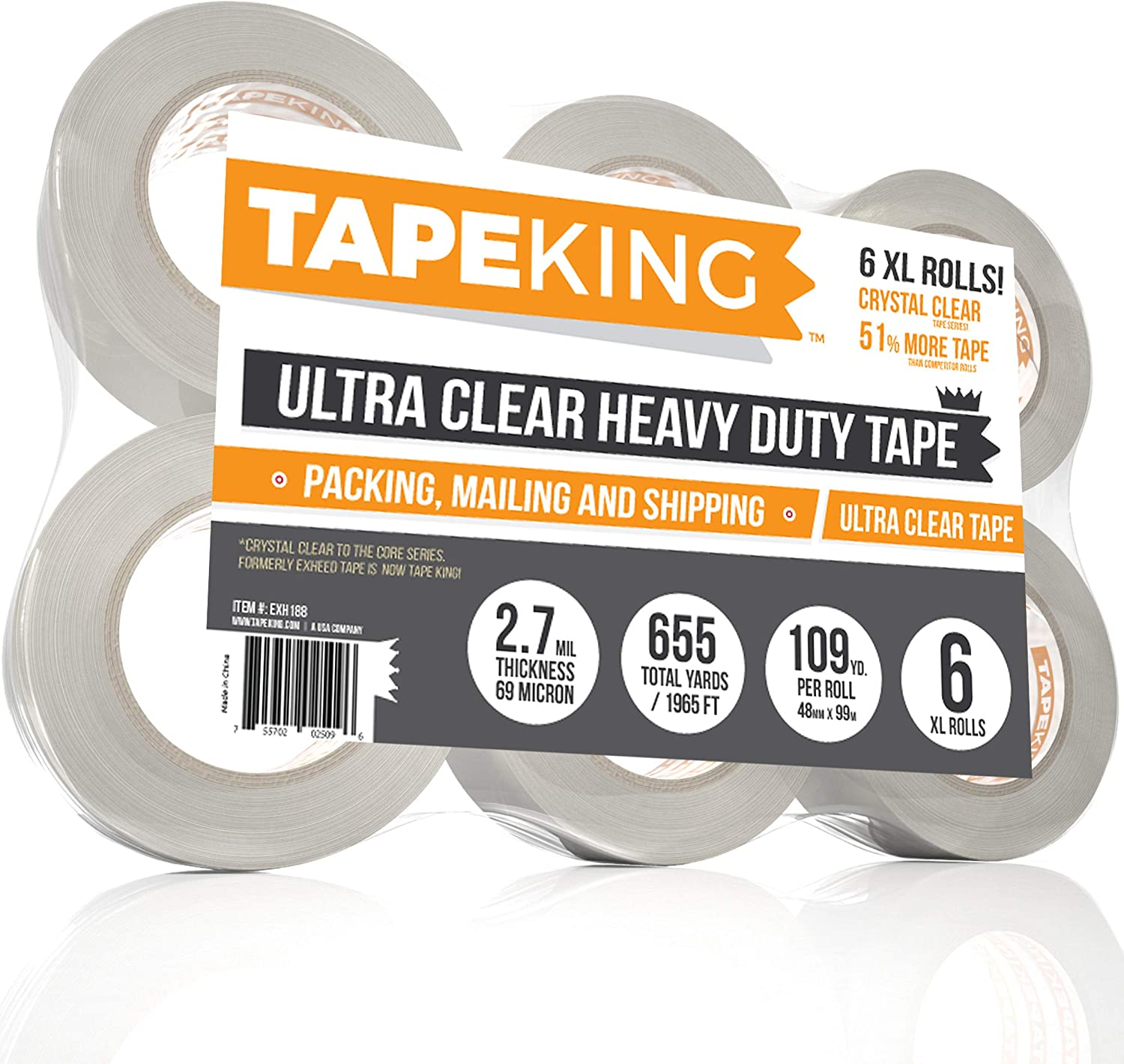 Heavy Duty 60 Tape King Super Thick 3.2Mil Clear Packing Tape 12 Refill Rolls