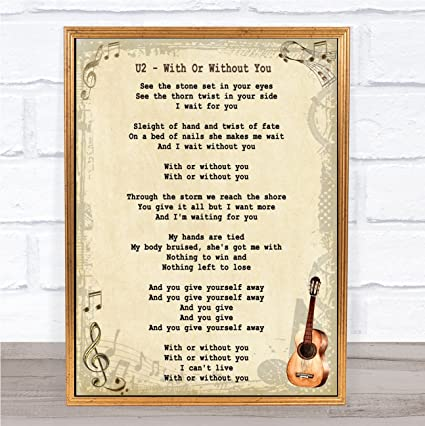 Amazon With Or Without You Song Lyric Vintage Wall Art Quote