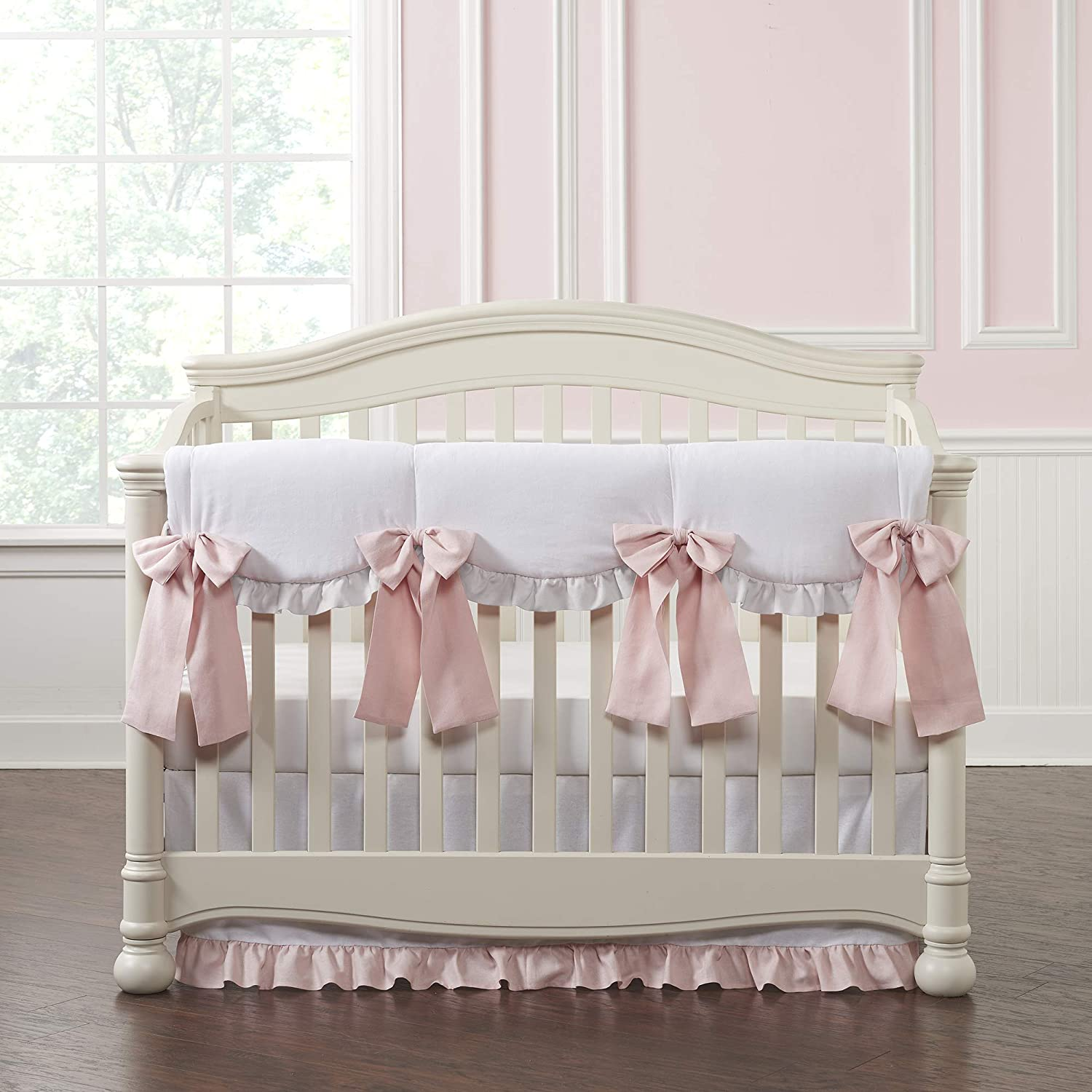 White Linen Crib Skirt with Petal Pink Ruffle 19 Drop