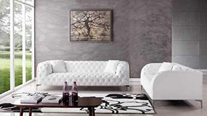 Etonnant American Eagle Furniture 2 Piece Dobson Collection Complete Leather Tufted  Living Room Sofa Set, White