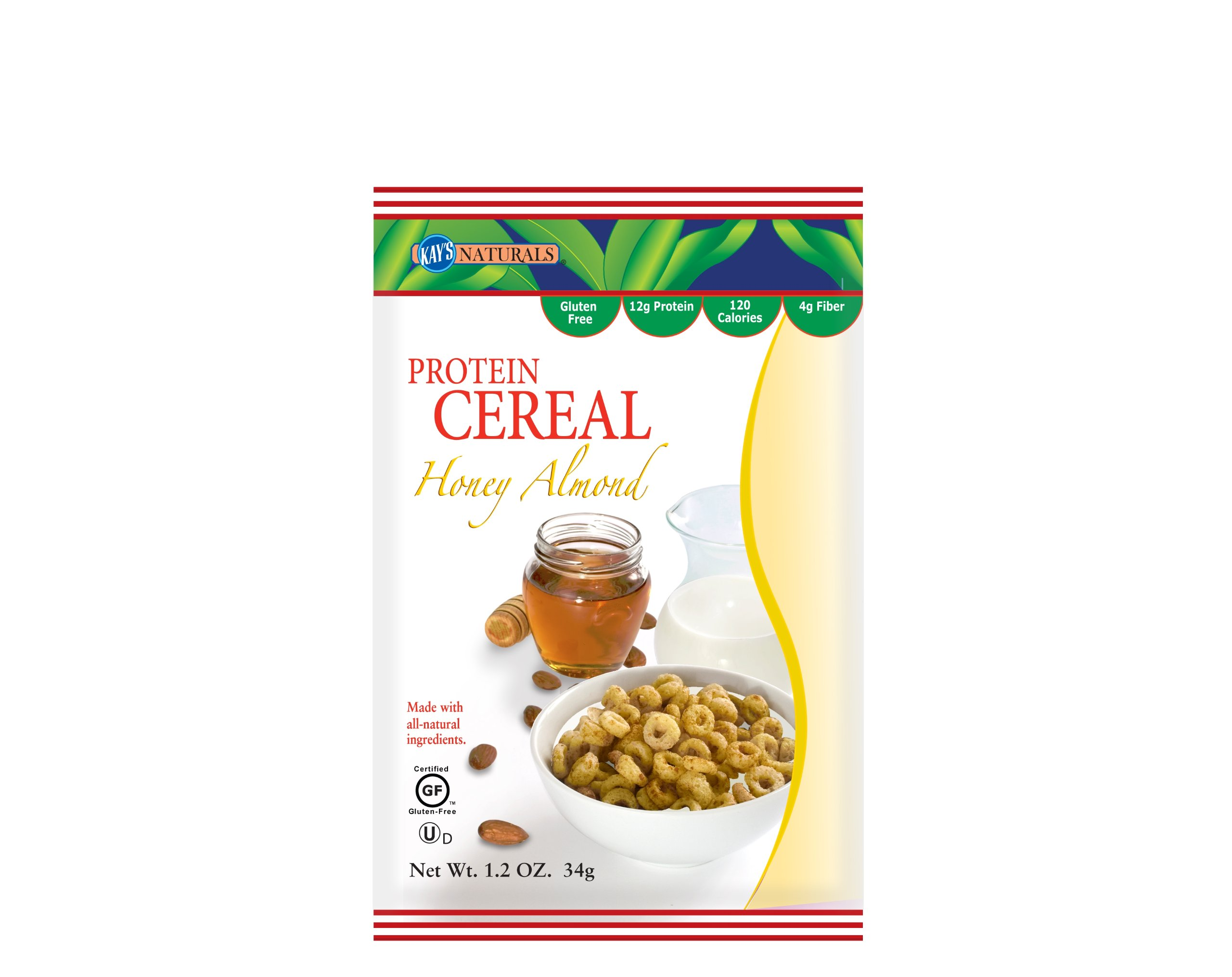 Kay's Natural Protein Cereal - Honey Almond Flavor, 1.2-Ounce (Pack of 12)