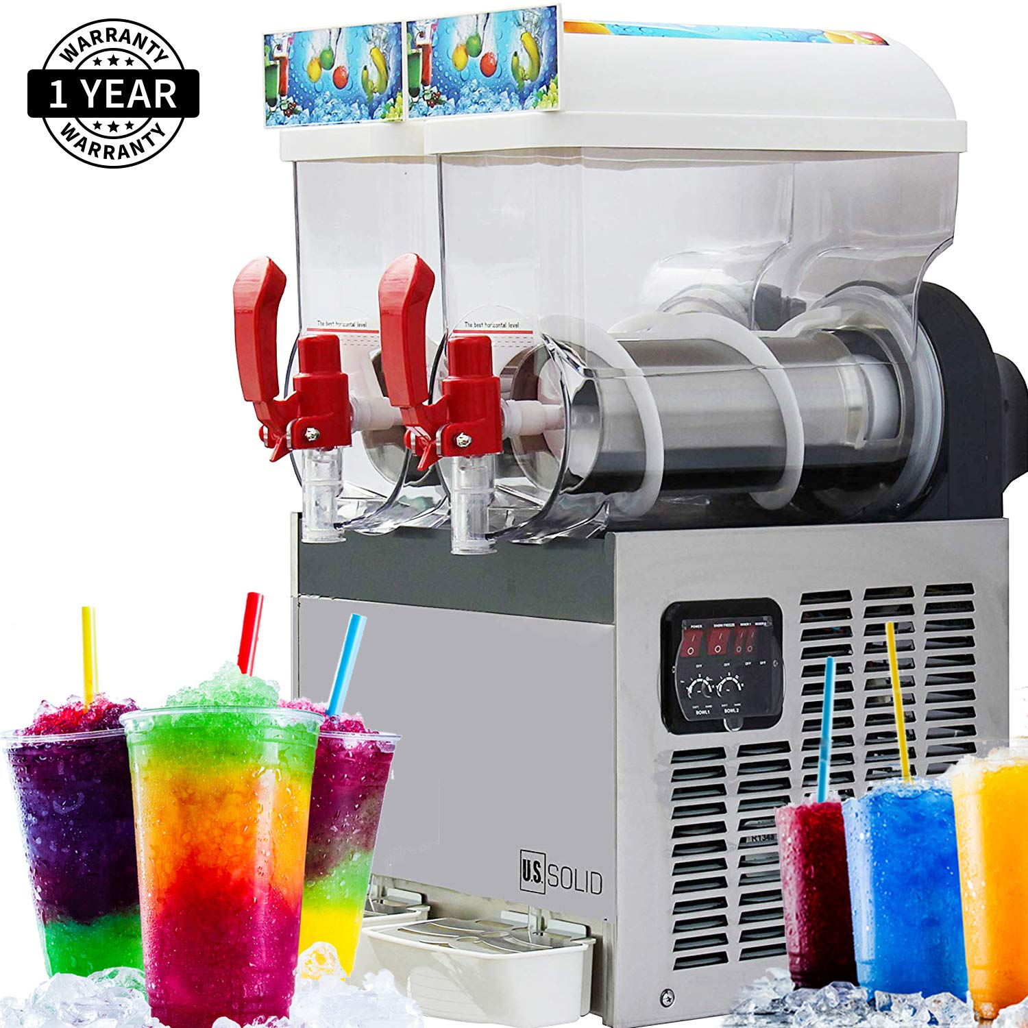 Slush Machine- Slushie Machine with Two 15L Tanks, 110V and 60Hz, Make the Perfect Fine Ice Slushies with the Frozen Drink Machine, Parts Available in the USA from Cleveland Ohio, a U.S. Solid Product by U.S. Solid
