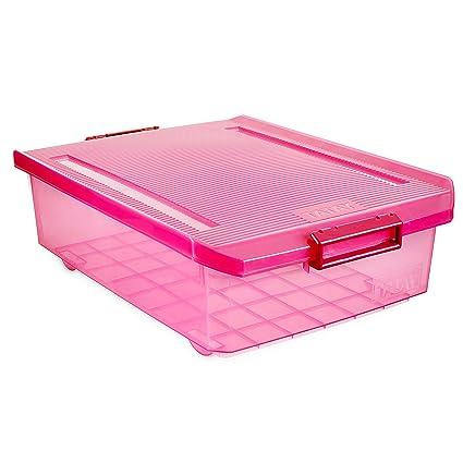 Tatay 1151212 Caja de Almacenamiento Multiusos Bajo Cama con Tapa, 32 l de Capacidad,