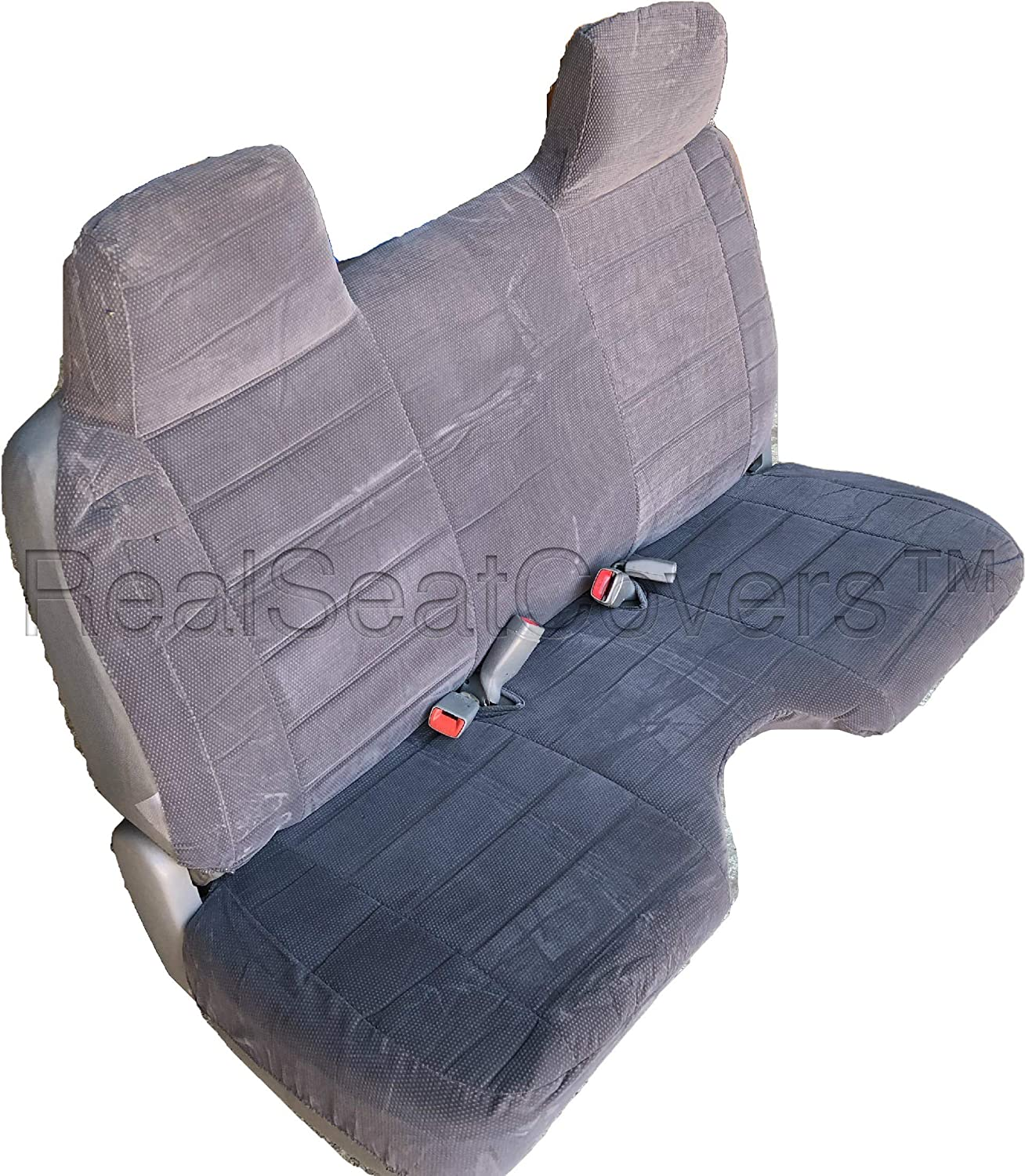 Gray RealSeatCovers for Front Bench A25 Triple Stitched Molded Headrests Small 2 to 3 Shifter Cutout Seat Cover for Toyota Pickup 1990-1995
