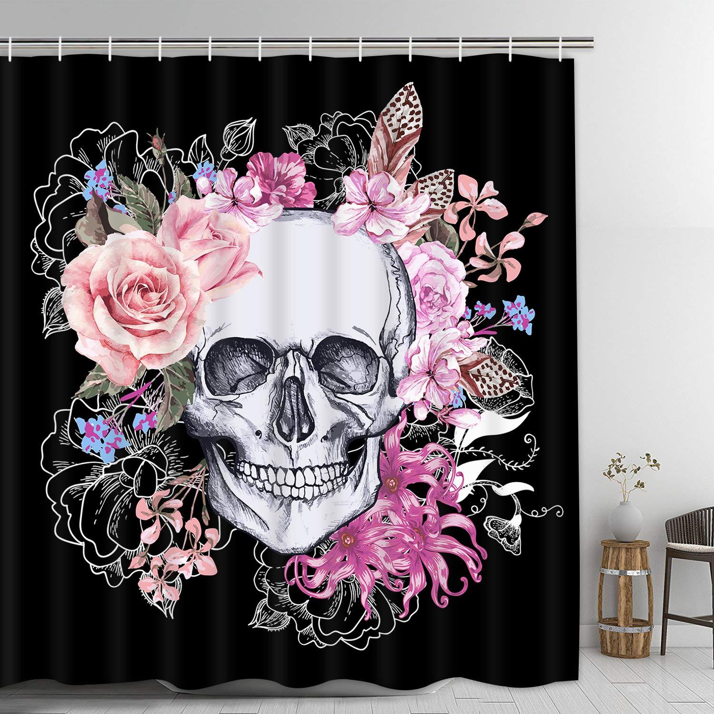 Skull Shower Curtain Bloom Skull Shower Curtain