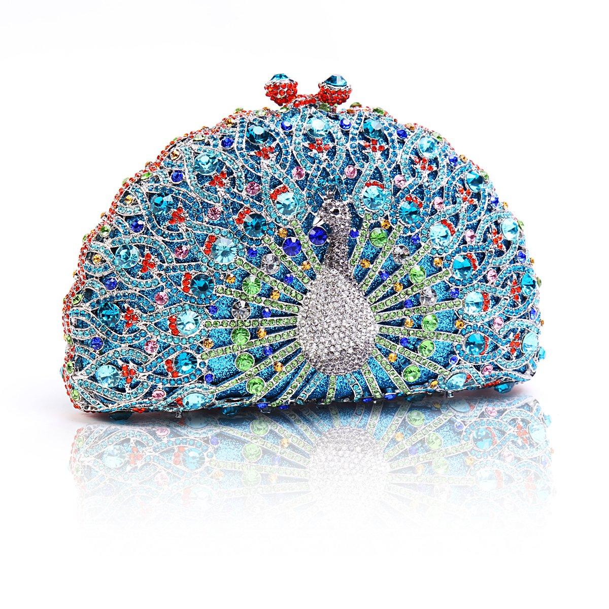 Damara Womens Half Moon Chic Peacock Crystals Wedding Hardcase Evening Bag,Blue