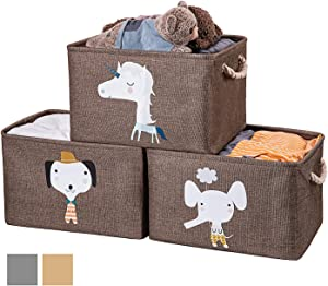 AXHOP Large Foldable Storage Bins with Cotton Rope Handles, Storage Baskets for Shelves, Fabric Storage Cubes for Organizing Shelf Nursery Home Closet & Office, Brown Unicorn 3-Pack Set