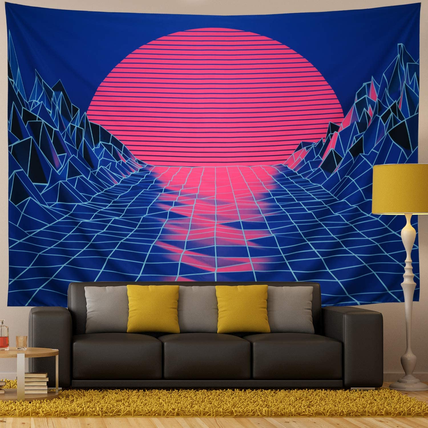 Ameyahud Sun Tapestry Mountain Tapestry Abstract Sketch Mountain River Tapestry Sunset Afterglow Landscape Tapestry for Bedroom W59.1 /× H51.2