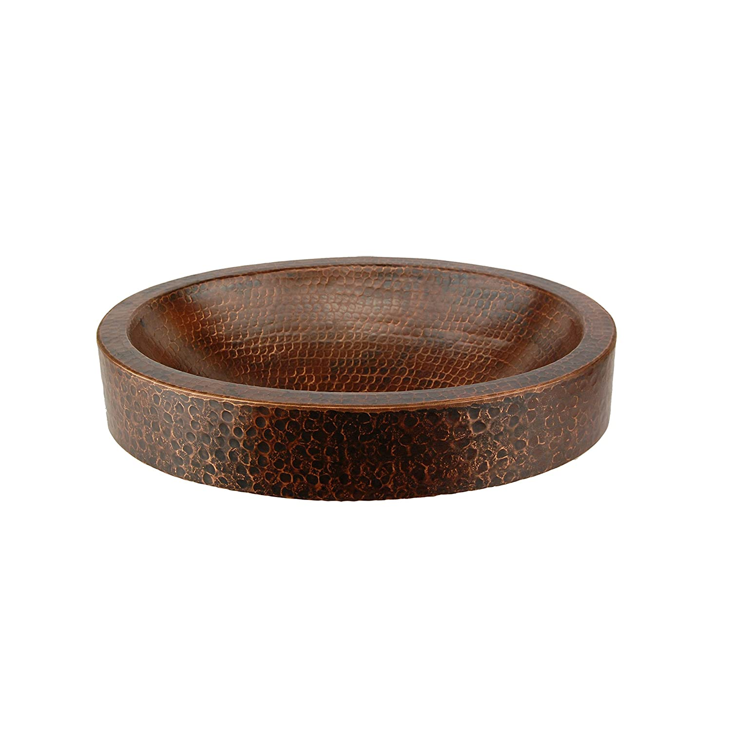 Premier Copper Products VO17SKDB Oval Skirted Vessel Hammered Copper Sink, Oil Rubbed Bronze