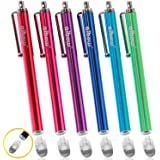 aibow タッチペン スマートフォン タブレット スタイラスペン iPad iPhone Android 交換式 6本セット 8mm (ピンク、アクアブルー、グリーン、ブルー、レッド、パープル)