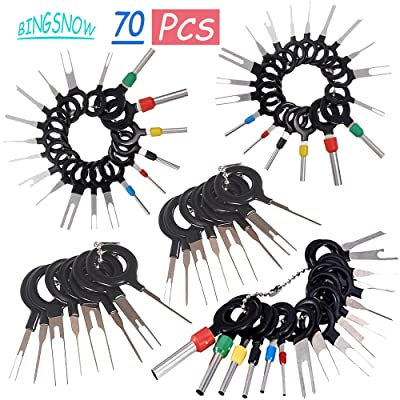 70 Pcs Terminal Removal Key Tool, BingSnow Terminal Pin Extractor Puller Repair Remover Key Tools for Most Connector Terminal: Car Electronics