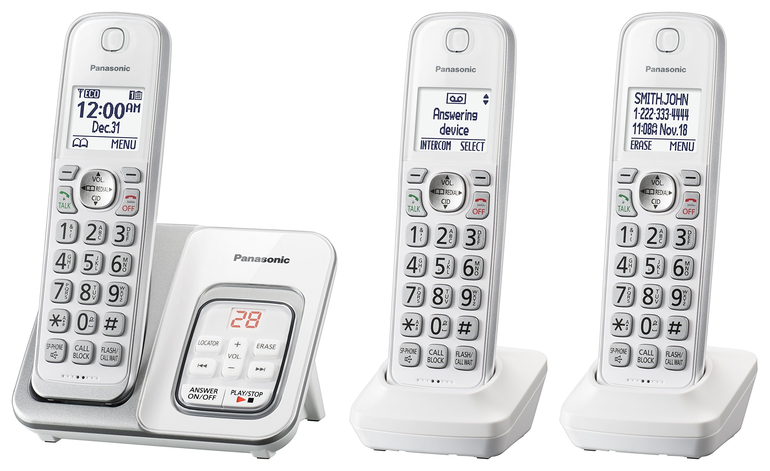 PANASONIC Expandable Cordless Phone System with Answering Machine and Call Block - 3 Cordless Handsets - KX-TGD533W (White) by Panasonic