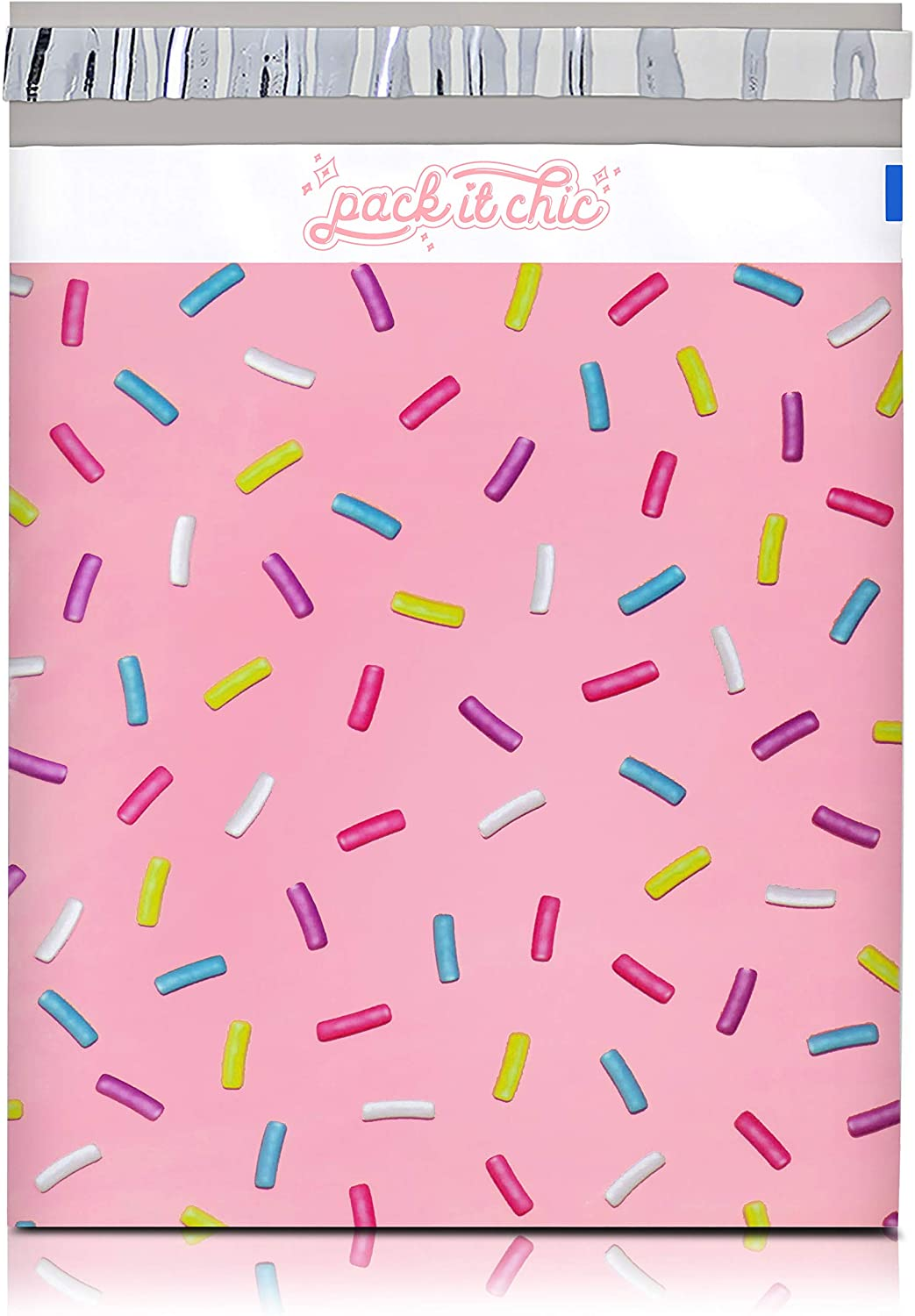 Pack It Chic - 10X13 (100 Pack) Ice Cream Pattern Poly Mailer Envelope Plastic Custom Mailing & Shipping Bags - Self Seal (More Designs Available) : Office Products