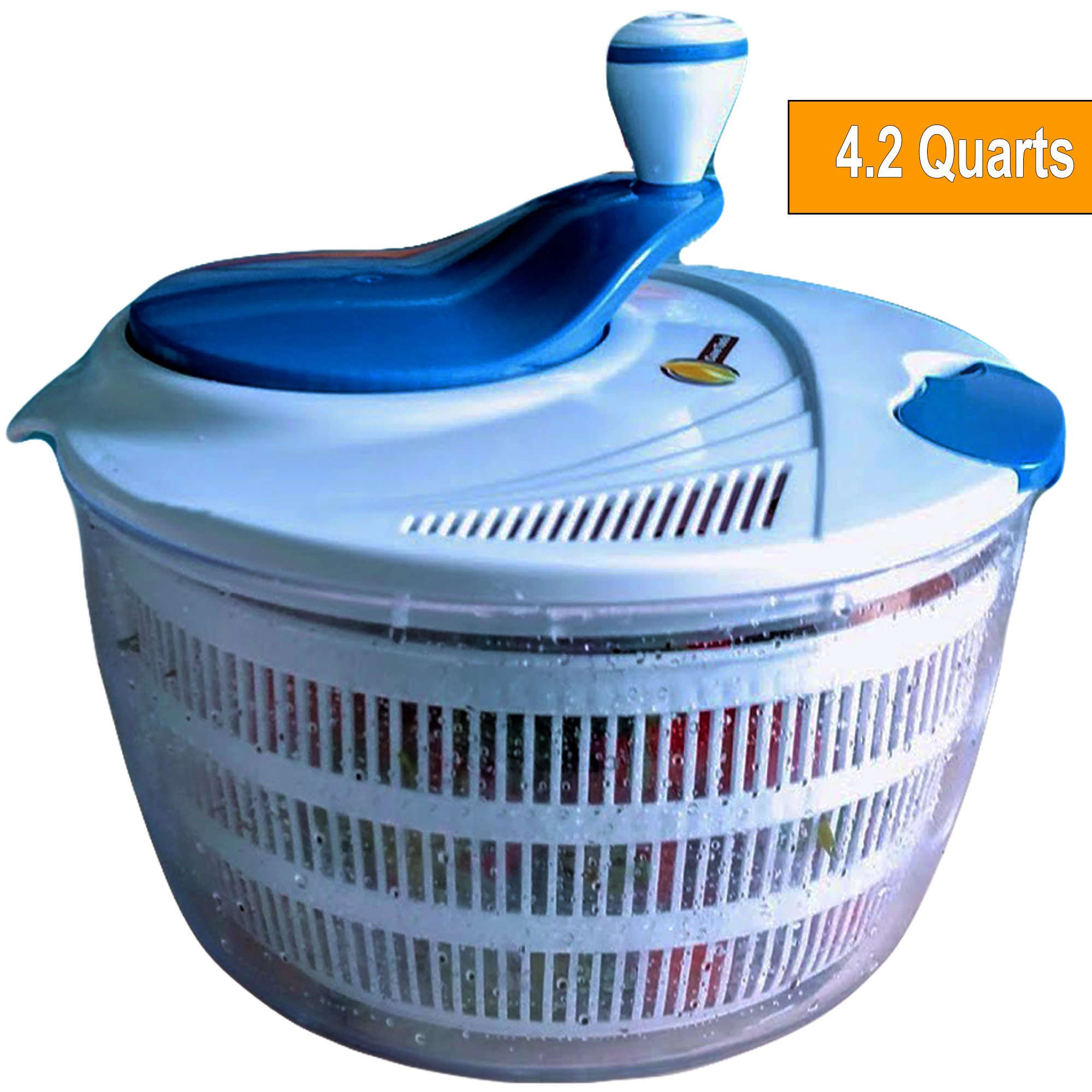 Salad Spinner Large 4.2 Quarts Serving Bowl Set - QUICK DRY DESIGN & DISHWASHER SAFE - BPA Free - No Pump Pull String or Cord Needed, Turn Knob Drys Fruits & Vegetables Fast - Cave Tools