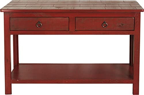 American Heartland Rustic Sofa Table, Rustic Red