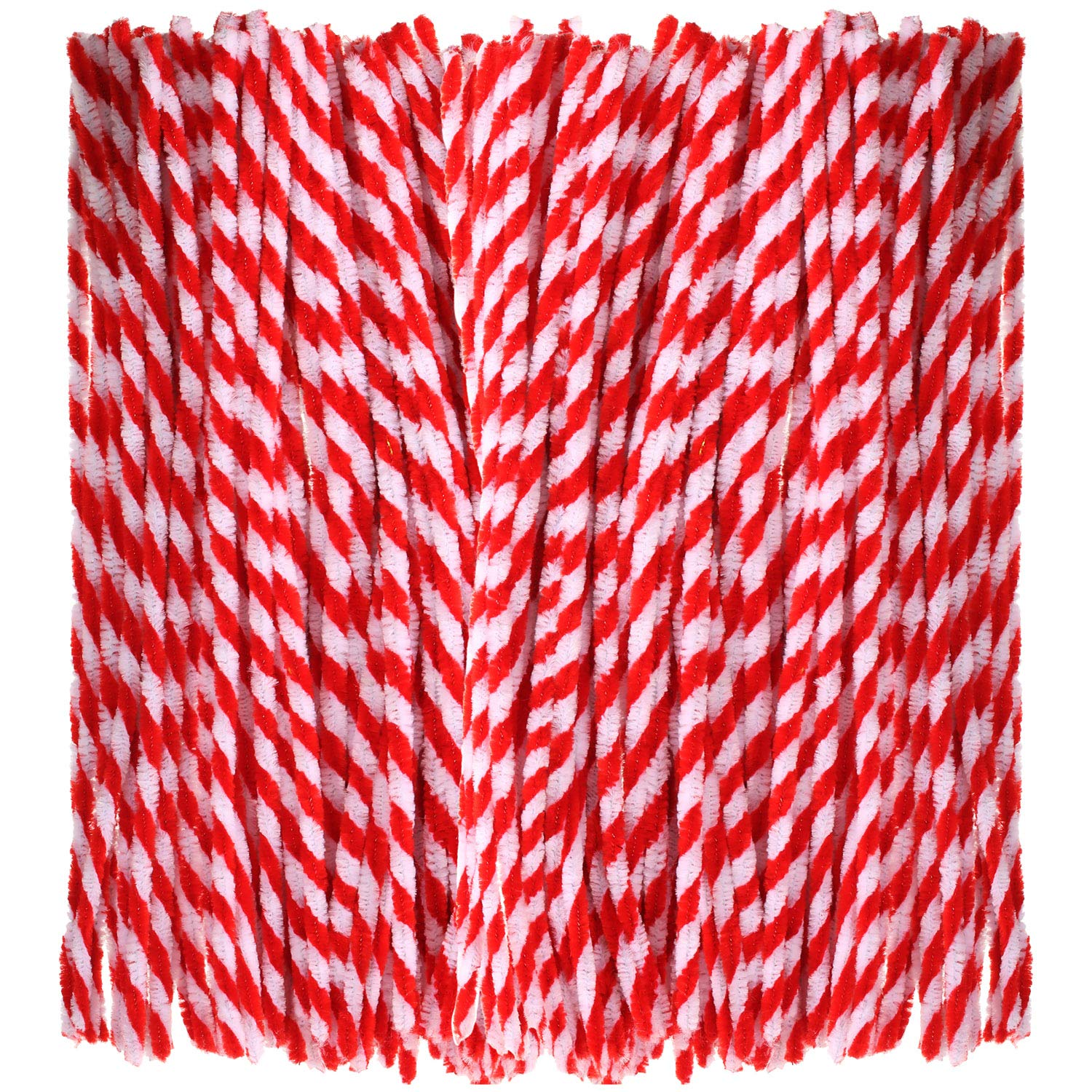 Bememo 200 Pieces Christmas Striped Chenille Stem Art Craft Pipe Cleaners, Red with White, 6 mm by 300 mm