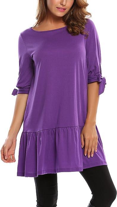bf5ee7e6 Zeagoo Women 3/4 Sleeve Solid Ruffles Casual Loose Tunic Dress with Tie, Purple