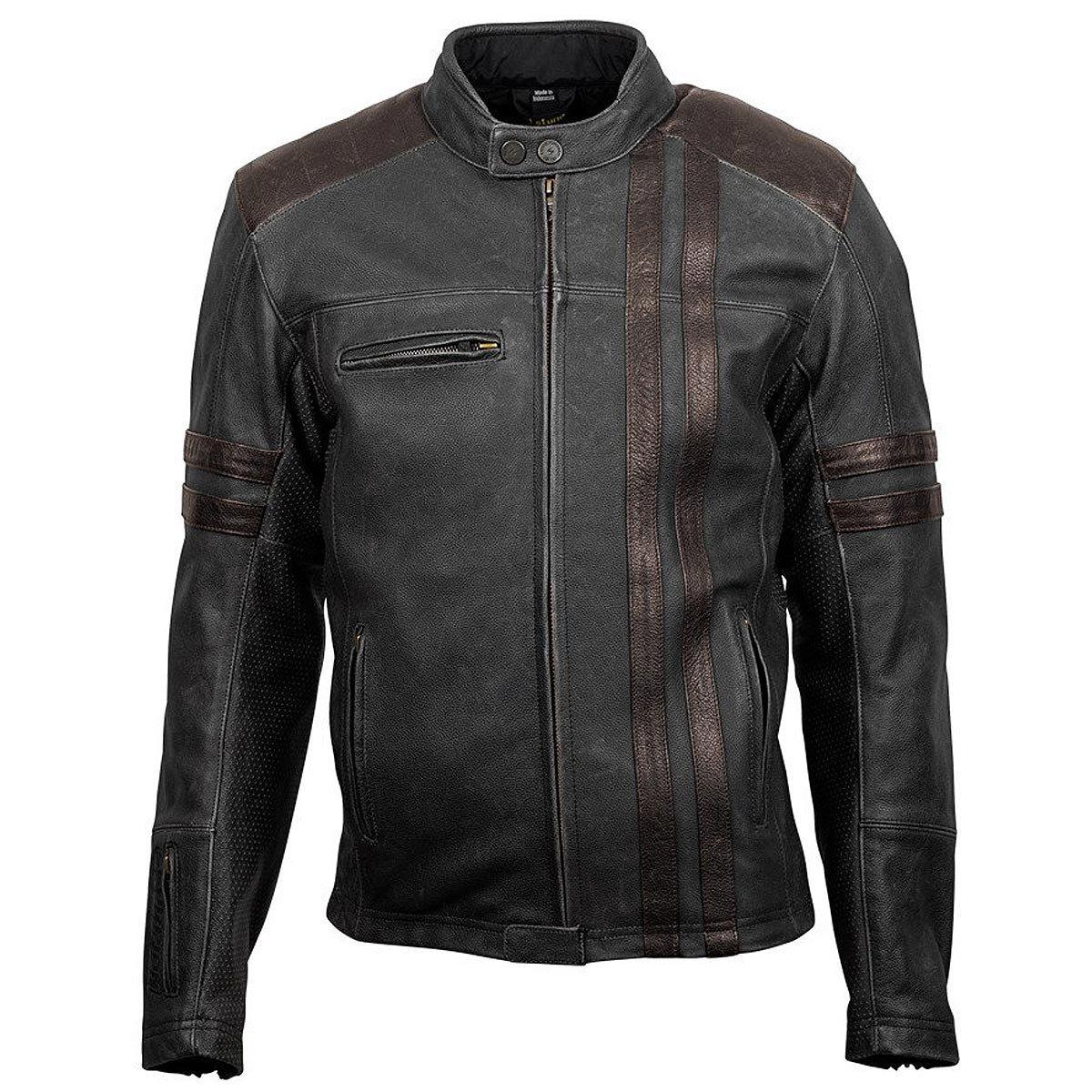 Scorpion EXO Men's 1909 Distressed Black Leather Jacket, 3XL