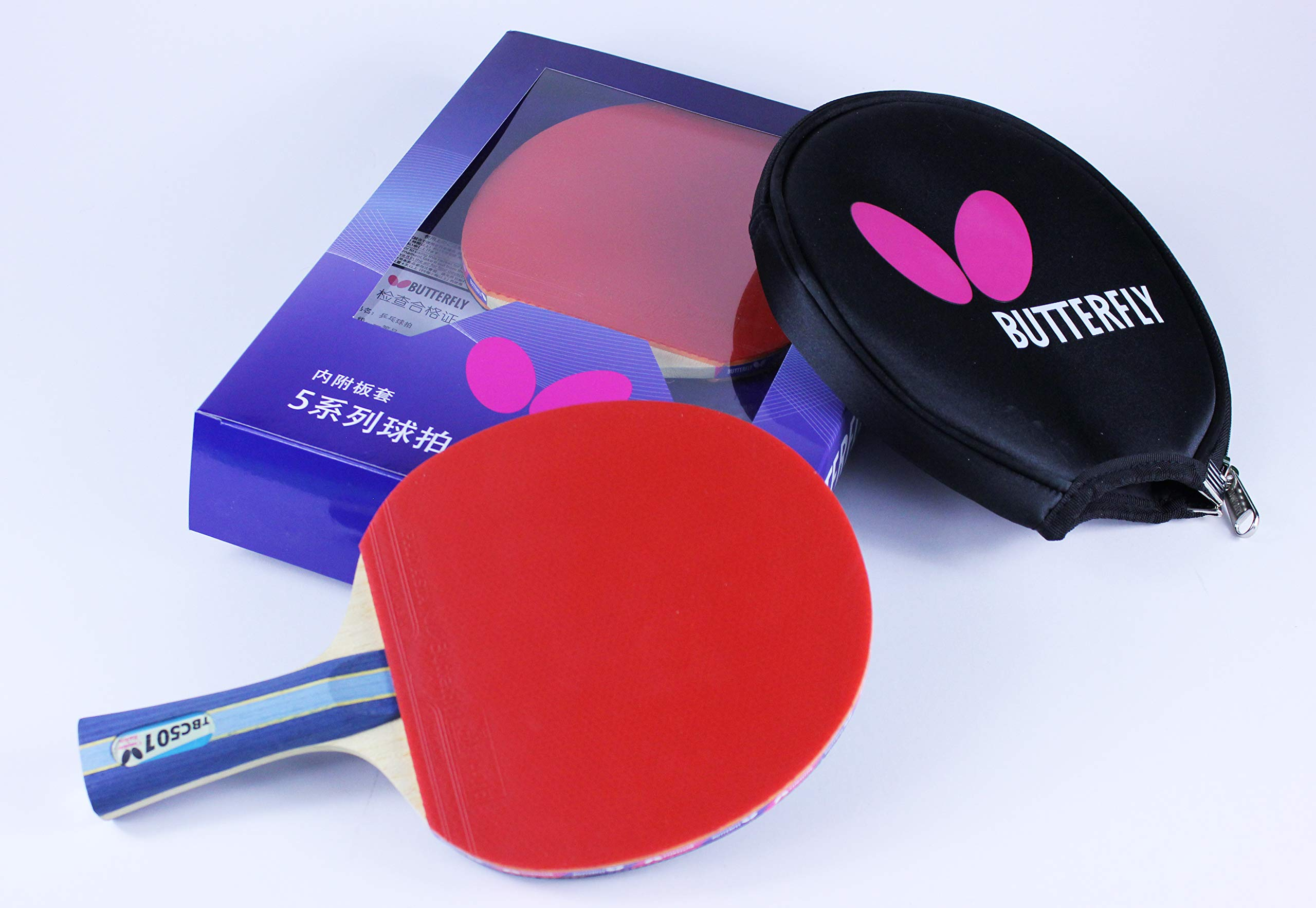 Butterfly 501 Table Tennis Racket Set - 1 Professional Ping Pong Paddle - 1 Ping Pong Paddle Case - Gift Box - ITTF Approved