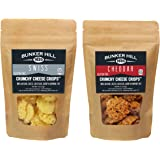 Bunker Hill Crunchy Cheese Crisps 100% Cheese High Protein, Gluten Free, Low Carb, Keto Snacks 2 Ounce Bag (Swiss and Cheddar, 2 Pack)