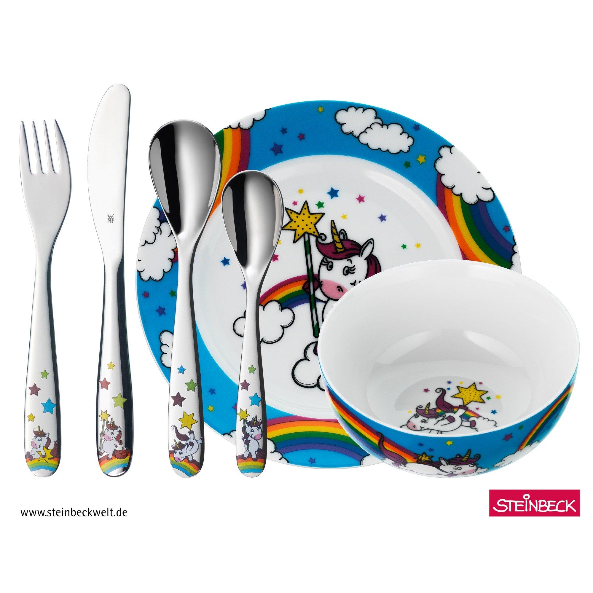 WMF Unicornio - Vajilla para niños 6 piezas, incluye plato, cuenco y cubertería (tenedor, cuchillo de mesa, cuchara y cuchara pequeña) Kids infantil