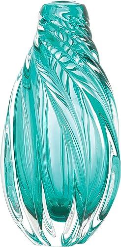Accent Plus Ocean Aqua Spiral Art Glass Vase 6.5×6.5×12