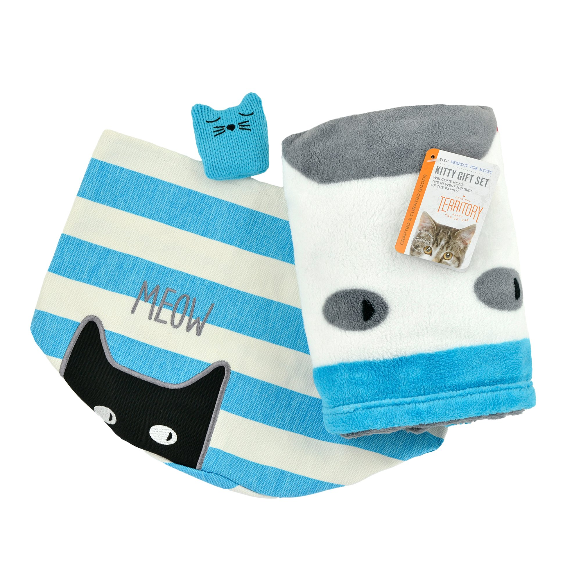 Territory Kitty Love Gift Set with Fleece Blanket Catnip Toy/Canvas Storage Bin