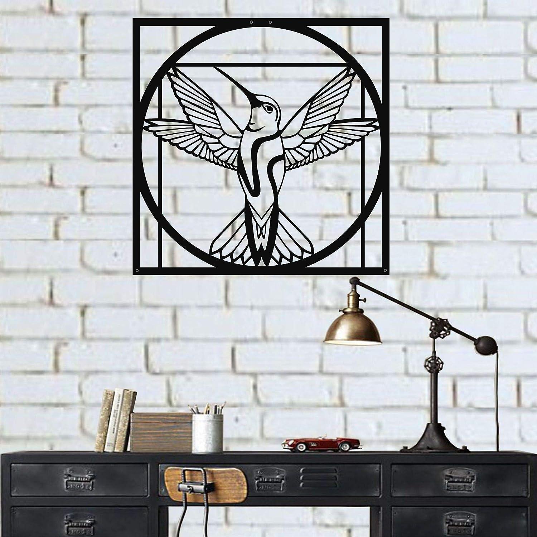 Colibri en m/étal d/écor Mural en m/étal d/écor doiseau en m/étal DEKADRON Art Mural en m/étal 45x45 cm