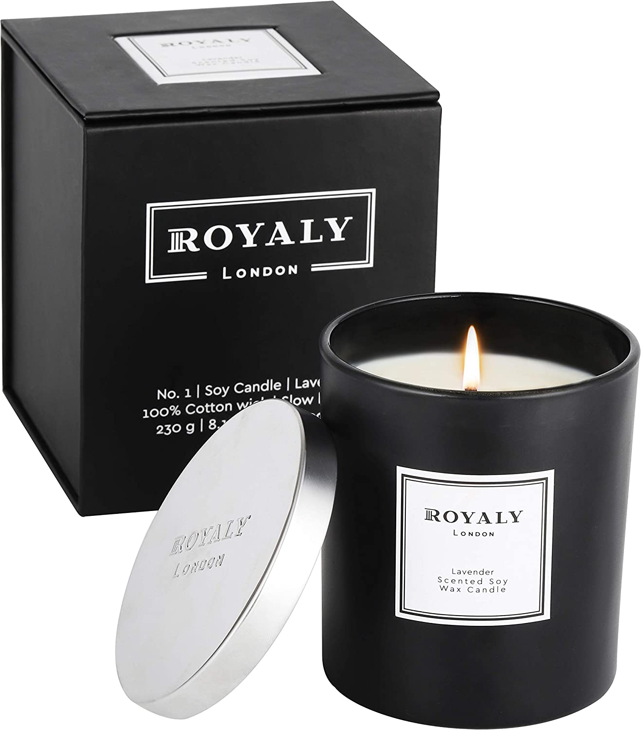 Royaly Home Scented Candles | Luxury Scented Soy Wax Lavender Jar Candle | Birthday Gifts for Women | Slow Burning & Hand Poured Aromatherapy Candles for Home | 8 Oz