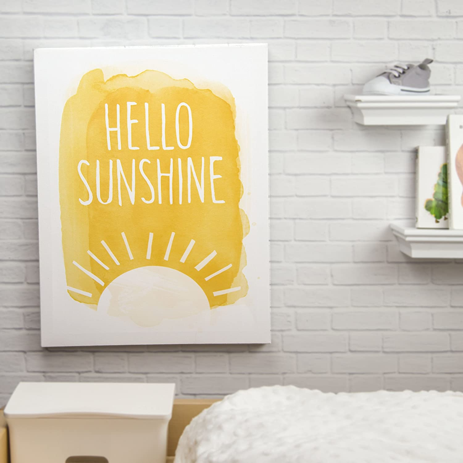 Amazon.com : Tiny Ideas Canvas Wall Art Nursery Yellow Decor, Hello ...