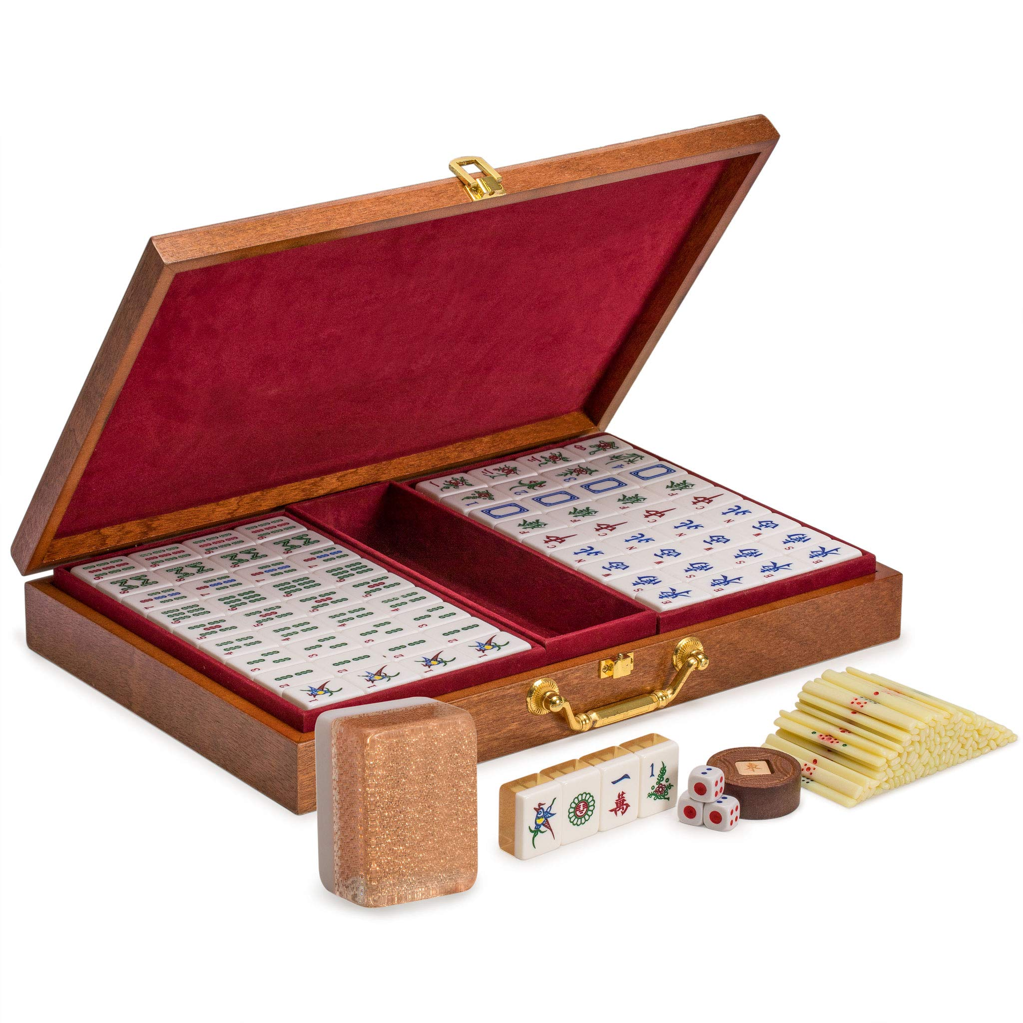 Yellow Mountain Imports Chinese Mahjong Set, Champagne Gold - with Wood Veneer Case - Medium Size Tiles: 1.3 x 1 x 0.7 inches (34mm x 25mm x 19mm) - for Chinese Style Gameplay Only