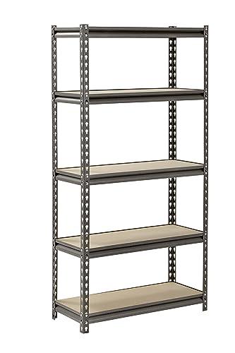 Muscle Rack UR301260PB5P-SV Silver Vein Steel Storage Rack, 5 Adjustable Shelves, 4000 lb. Capacity, 60 Height x 30 Width x 12 Depth