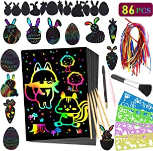 Scratch Paper Craft Kits for Kids - 86 Pcs Rainbow Magic Scratch Off DIY Arts and Crafts Scratchboard Supplies Sets for Children Girls Boys Birthday Game Party Favor Christmas Easter Craft Gifts