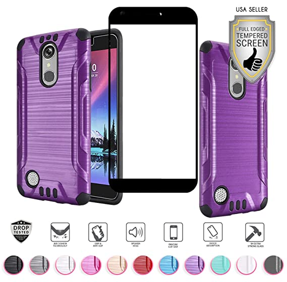 outlet store 524ae 420a1 LG Harmony case, K20 Plus case, K20V case, Grace case, with Full Tempered  Glass Screen Protector Heavy Duty Metallic Brushed Slim Hybrid Shockproof  ...