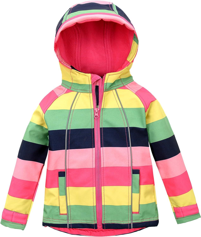 M2C Girls Hooded Fleece Jacket Striped Windproof Softshell Windbreaker