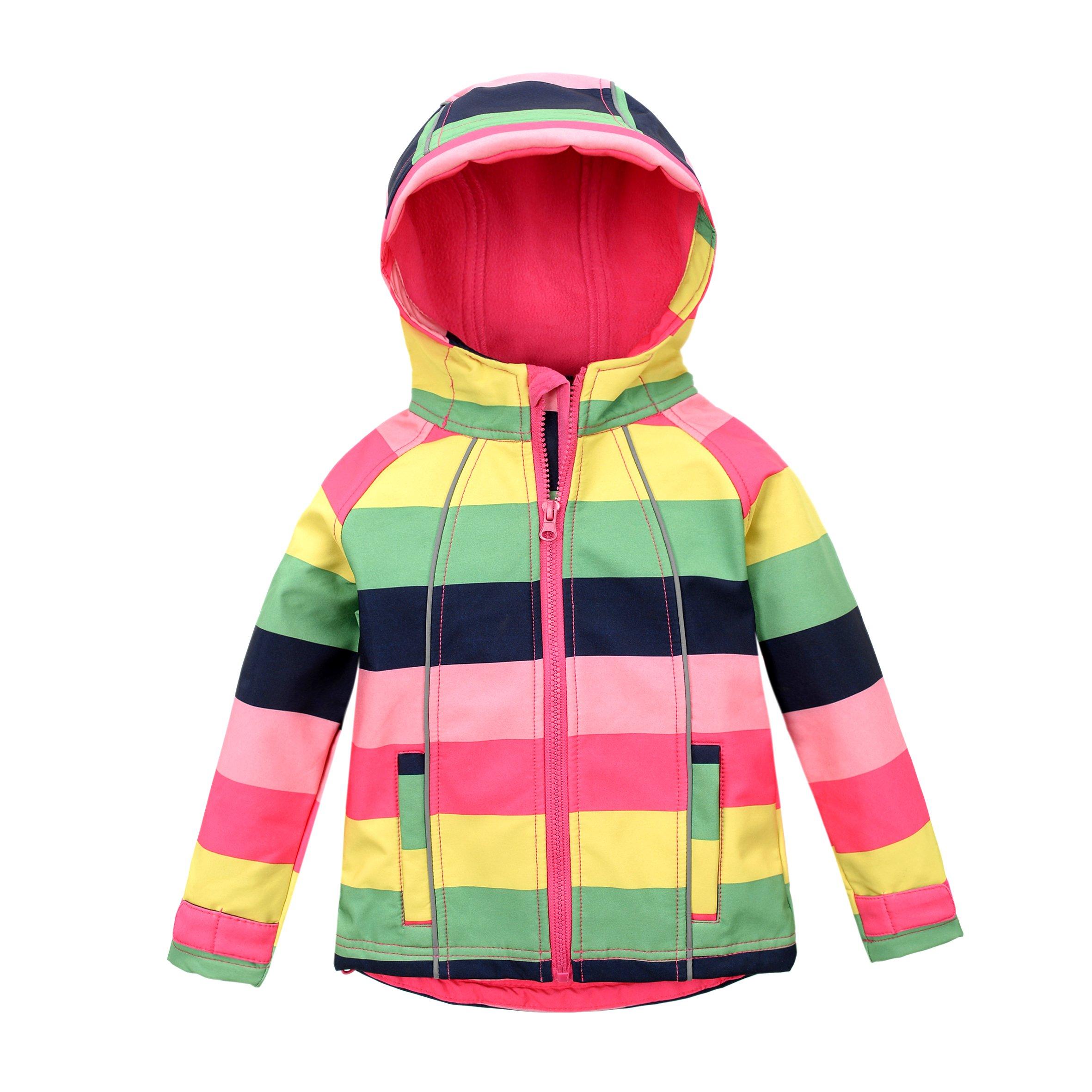 M2C Girls Hooded Fleece Jacket Striped Windproof Softshell Windbreaker 4T Red by M2C
