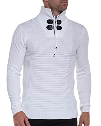 2a8e9def23ff8 BLZ Jeans - Pull Blanc Fine Maille Moulant Double col Montant - Couleur   Blanc -