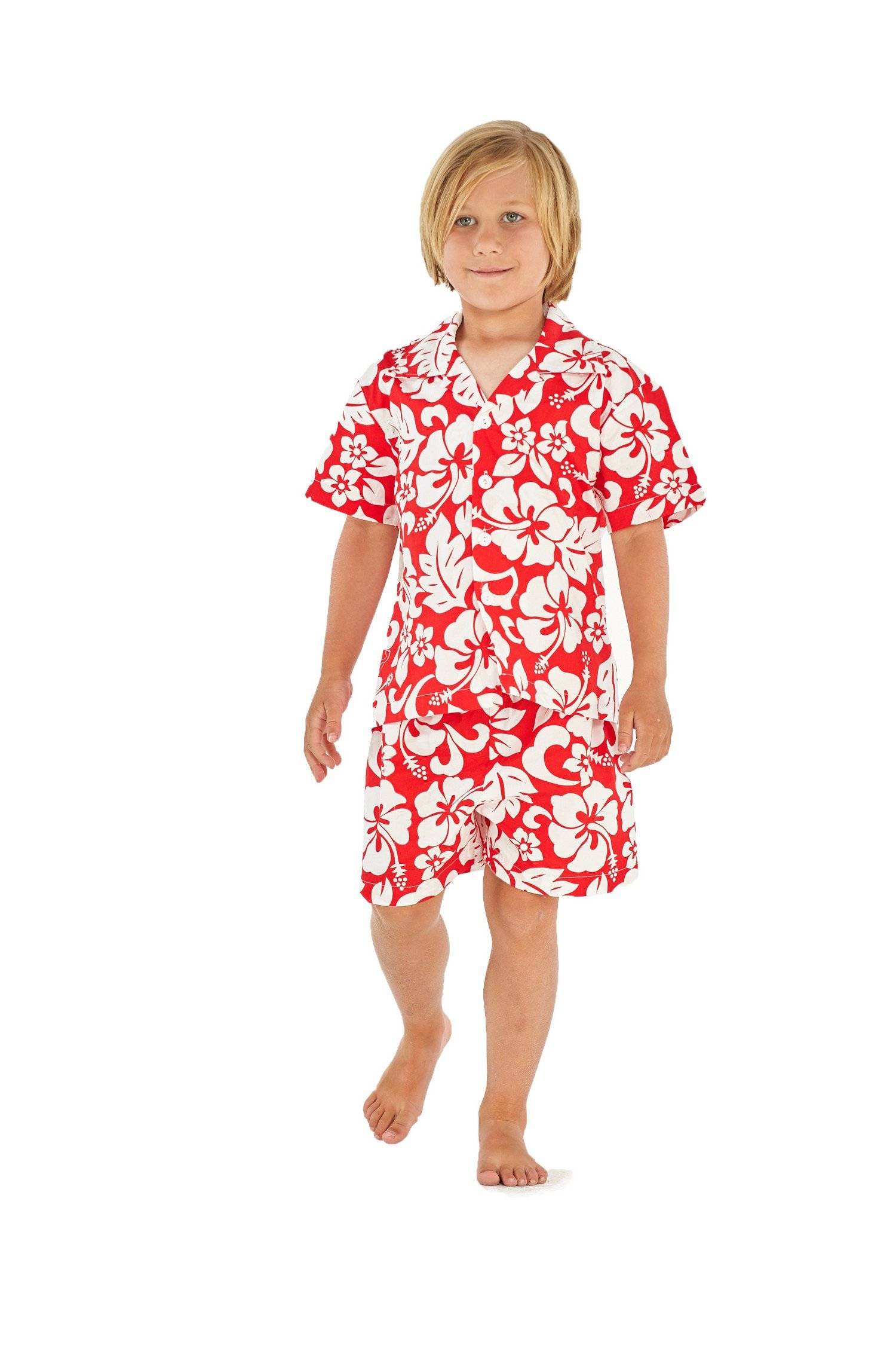 Boy Hawaiian Shirt and Shorts Cabana Set in Vintage Classic Hibisus Red Size 8