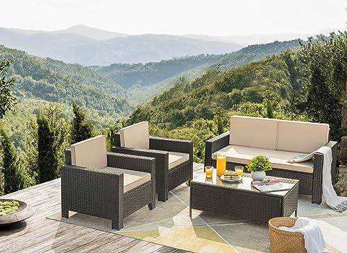Flamaker 4 Pieces Patio Furniture Set Outdoor Furniture Set Rattan Conversation Sofa Set
