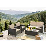 Flamaker 4 Pieces Patio Furniture Set Outdoor Furniture Set Rattan Conversation Sofa Set with Coffee Table for Garden…