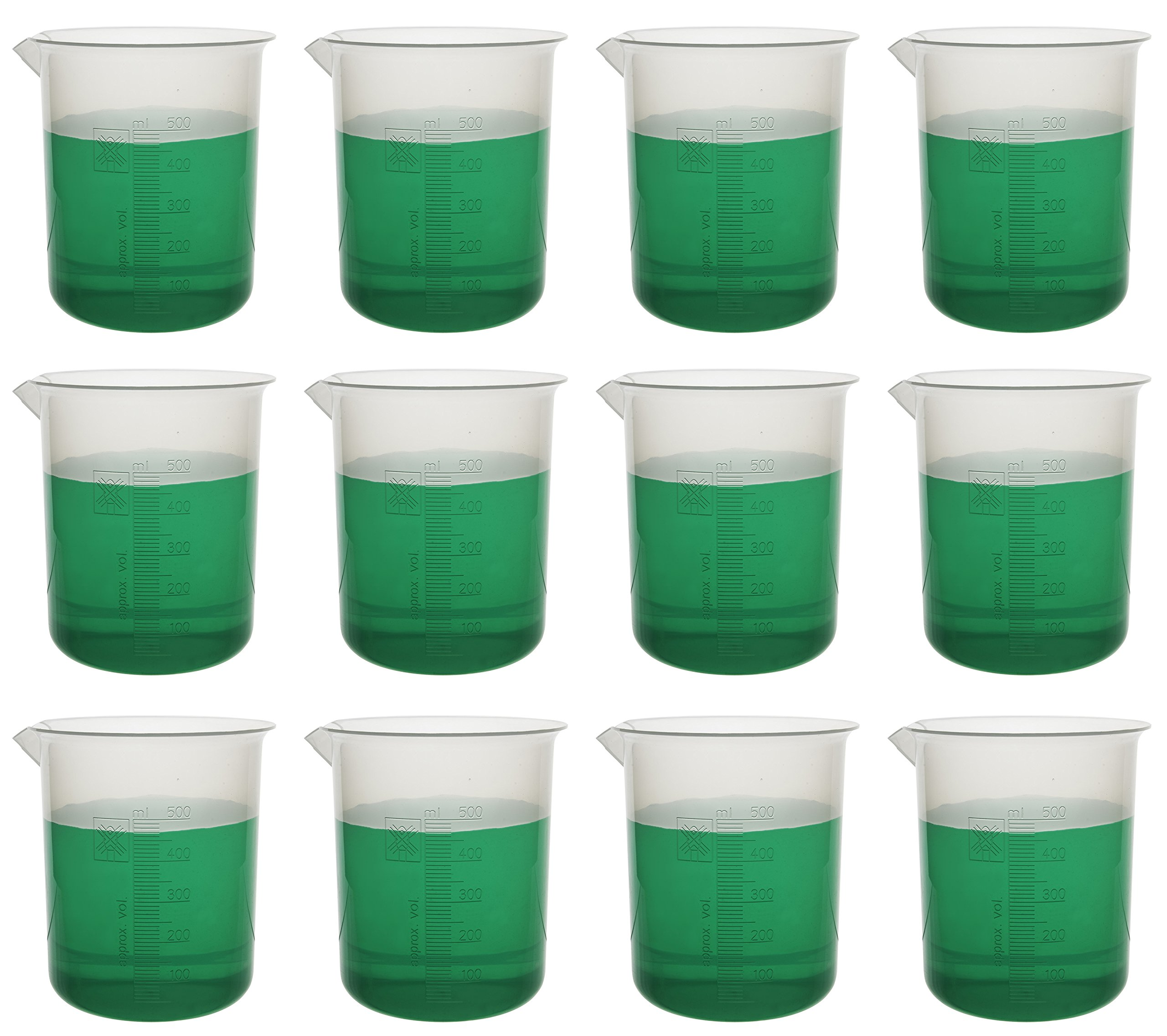 Pack of 12 Beakers, 500ml - Premium Polypropylene - 10ml Raised Graduations, Tapered Spout - Eisco Labs